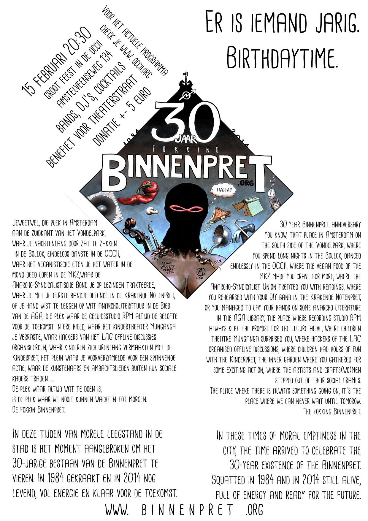 30 Jaar Vereniging De Binnenpret / Benefiet Theaterstraat -w/ DE STOKERS + THE HOLY BEGGARS + FANFARE VAN DE 1e LIEFDESNACHT + MC G.W. SOK + DJ DE BOER & DISC JOCHIE GRRRT