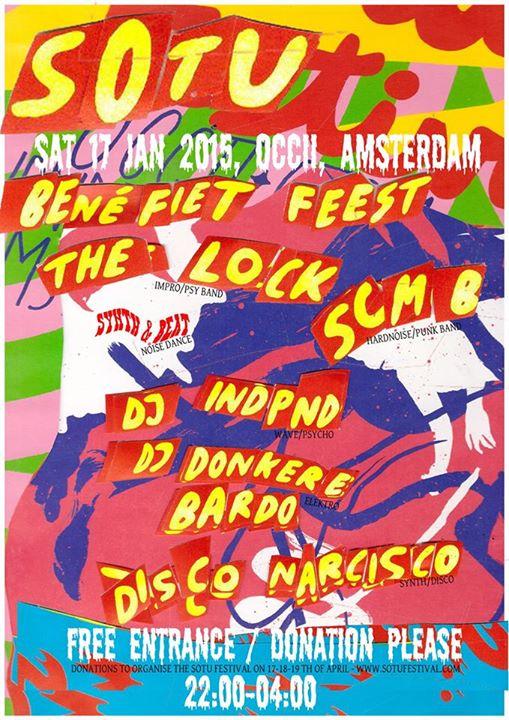 SOTU Benefiet Feest -w/ THE LOCK + SCMB + SYNTH & BEAT + DJ DUISTERE BARDO + DJ INDPND + DISCO NARCISCO