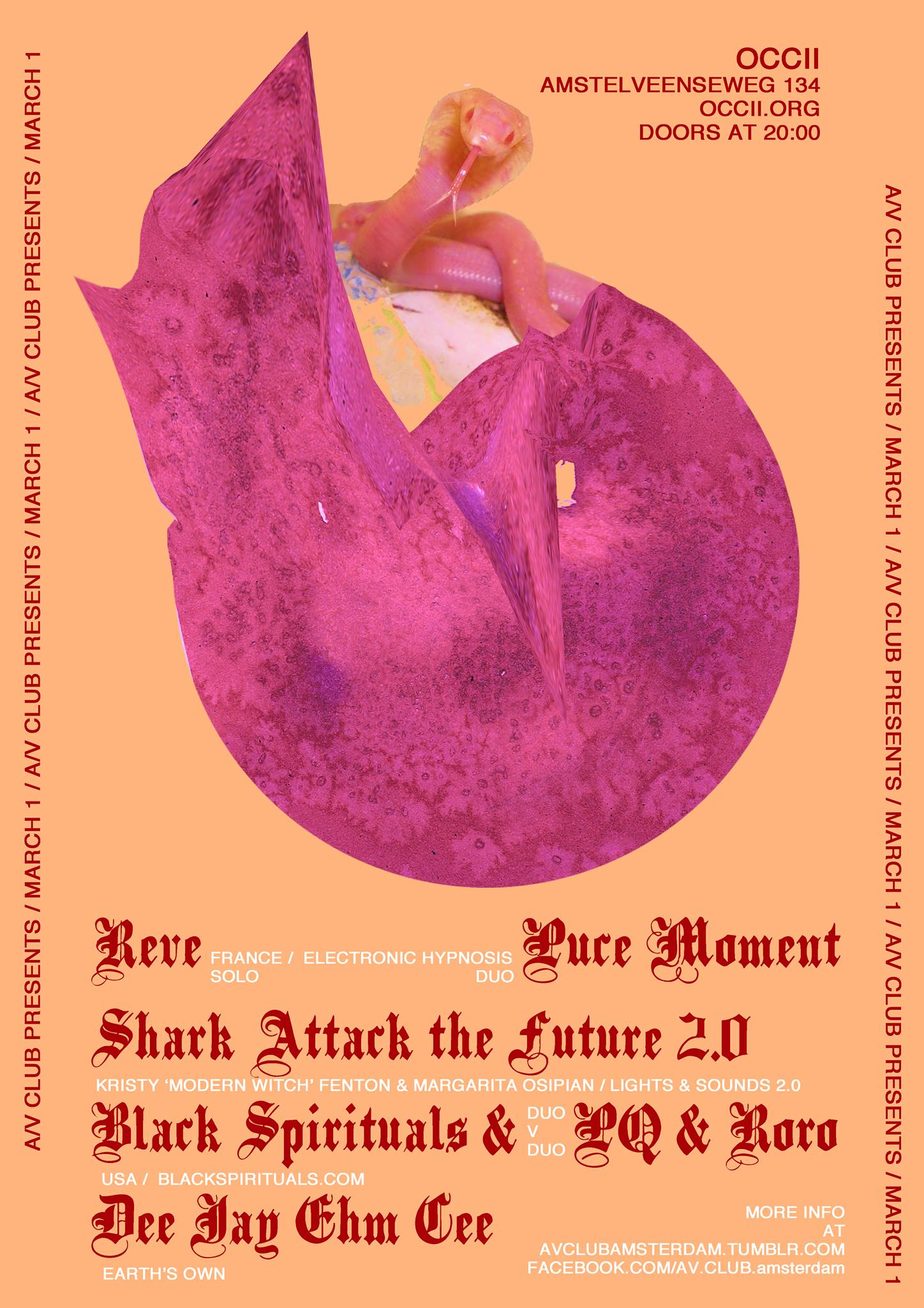 RÊVE (fr) + PUCE MOMENT (fr) + SHARK ATTACK THE FUTURE 2.0 + BLACK SPIRITUALS versus LUC & RORO + DEE JAY EHM CEE aka DON McGREEVY (Earth/MMOB)
