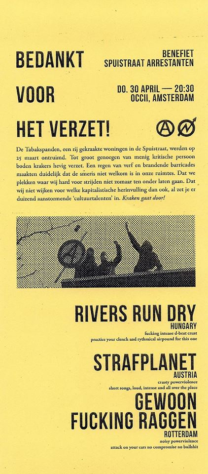 Spuistraat Arrestanten Benefiet —w/ RIVERS RUN DRY (hu) + STRAFPLANET (at) + GEWOON FUCKING RAGGEN