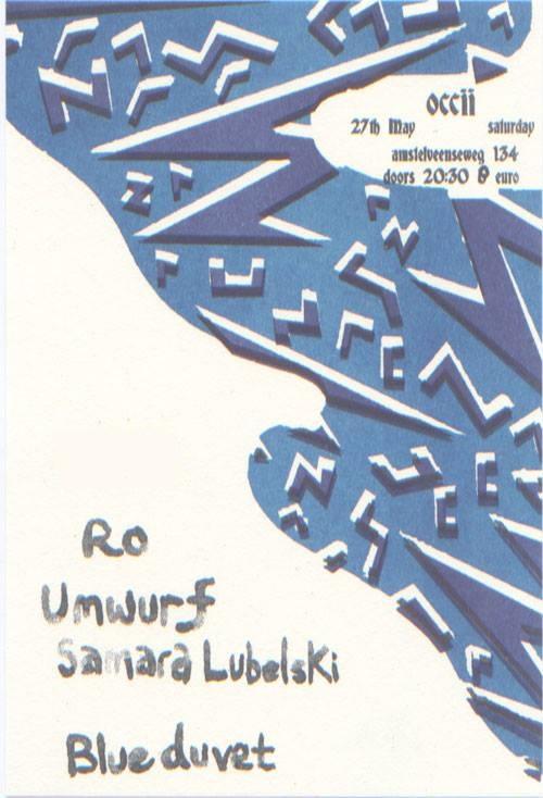 UMWURF (DE) w/ SAMARA LUBELSKI (US) + RO (dk) + BLUE DUVET + DJ Valentina (Jacuzzigirls)