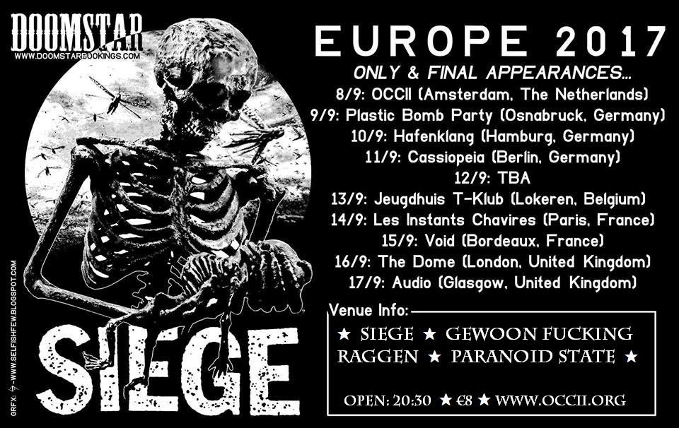SIEGE (US) + GEWOON FUCKING RAGGEN + PARANOID STATE + DJ STEVE