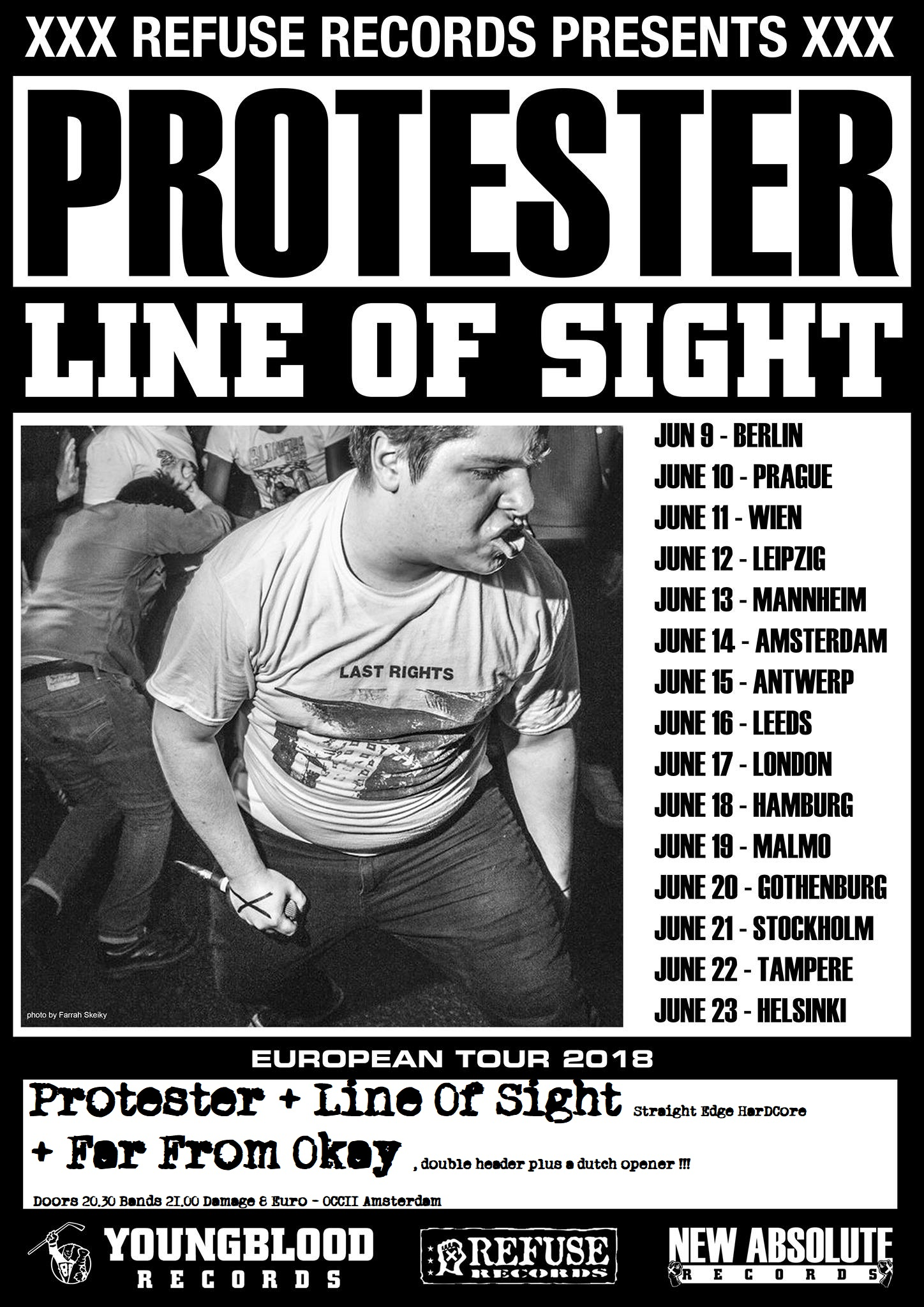 PROTESTER (US) + LINE OF SIGHT (US) + FAR FROM OKAY
