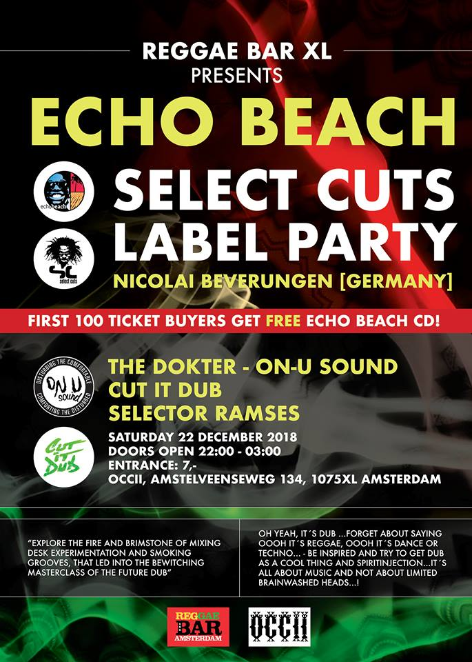 REGGAE BAR XL PRESENTS ECHO BEACH LABEL NIGHT
